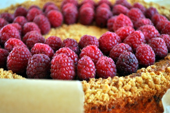 Cottage cheese-kake med bringebærsaus