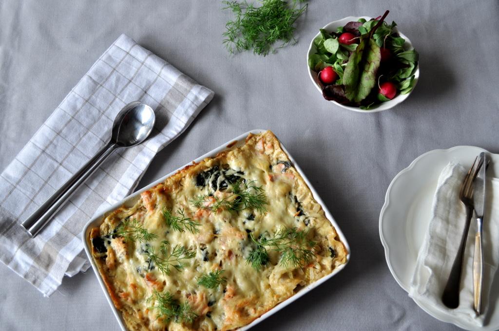 Laksagne - lasagne med laks