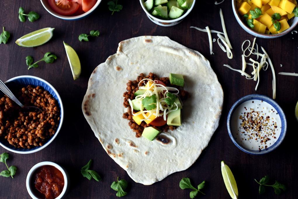 Rask taco med linser og annet godt tilbehør