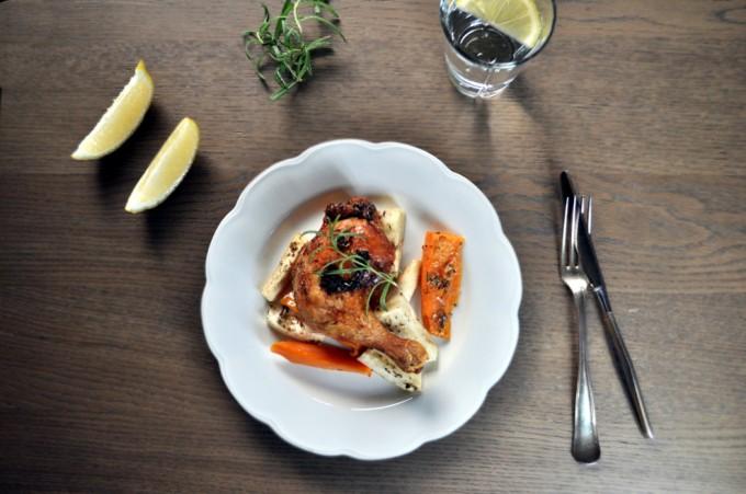 Urtemarinerte kyllinglår med rotgrønnsaker fra ukemeny med sunne retter