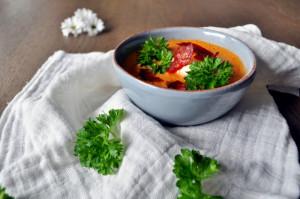 Tomatsuppe med mascarpone og chorizo