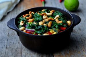 Stekt ris med spinat og cashew