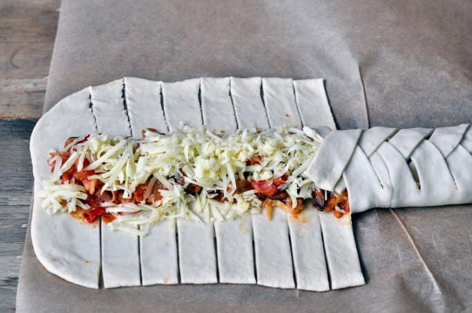 Flettepizza med skinke og sjampinjong