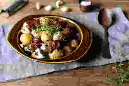 Kremede poteter med aromasopp og bacon