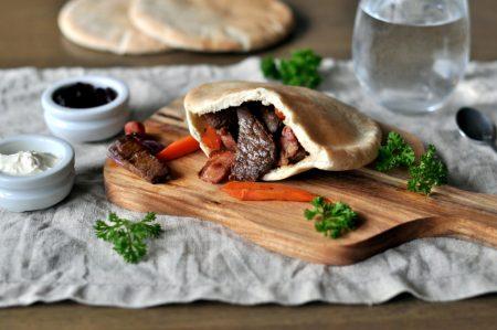 Pita med elgskav, bacon og sopp