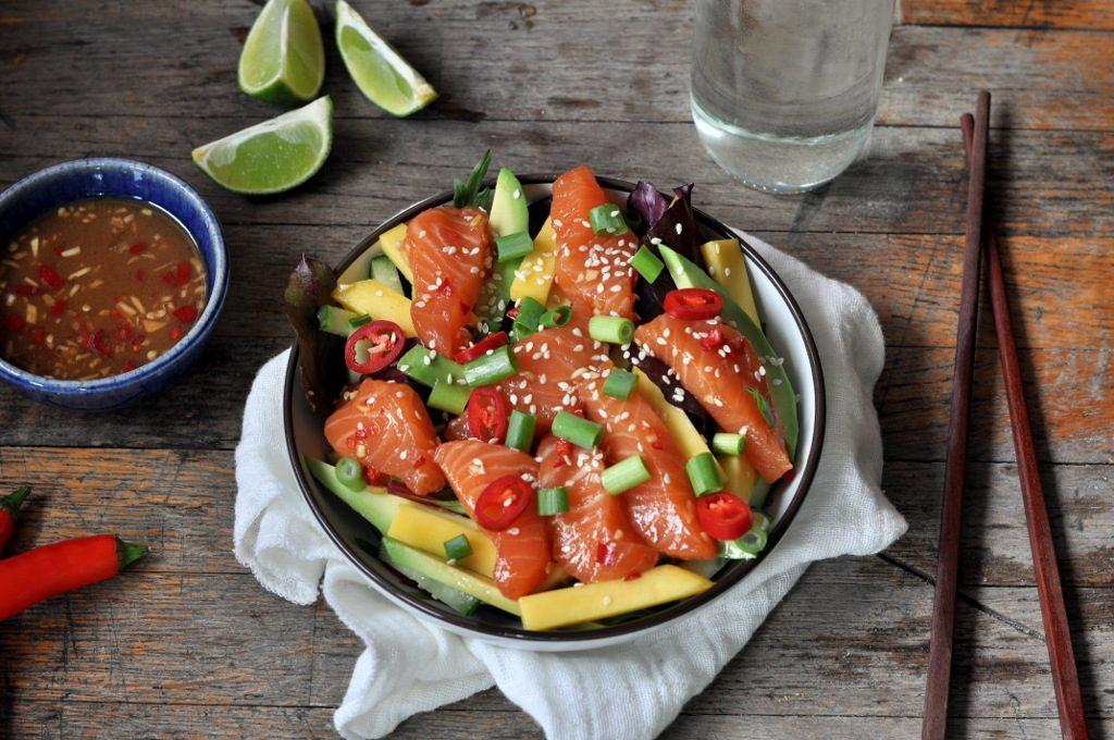 Sterk sashimisalat med marinert laks, mango og avokado